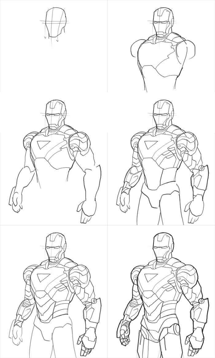 how to draw iron man mk vi nil tech