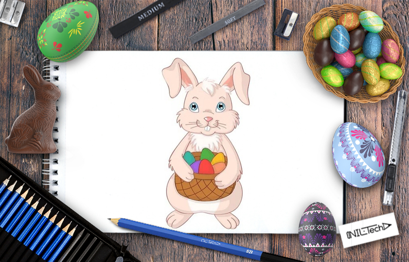 How to Draw an Easter Bunny with eggs in the basket